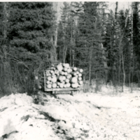 [Ken Moore with load of logs]