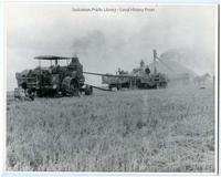 Steam engine and threshing machine