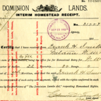 Dominion Lands Interim Homestead Receipt
