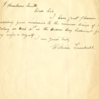 [Invitation acceptance letter from William Turnbull]
