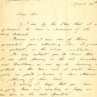 [Invitation decline letter from Harold P. Collins]