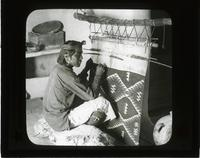 Blanket Weaving - a Hopi Indian at work, Arizona