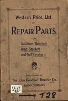 Western Price List of Repair Parts for Goodison Threshers, Wind Stackers and Self Feeders
