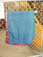 Drapes - light purple with dark green backing - panel #1