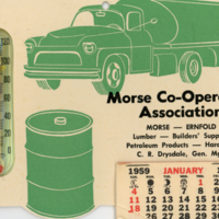 Morse Co-operative Association calendar and thermometer