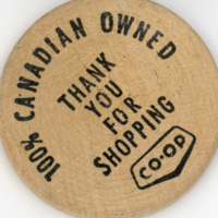 Co-op round wooden coupon (front)