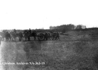 Cannon being limbered up in battle of Fish Creek, Saskatchewan.