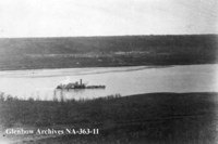 Ferry crossing the North Saskatchewan River at Fort Carlton, Saskatchewan.