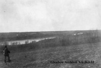 Militia troops first sight of Batoche, Saskatchewan.