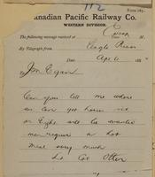 Colonel Otter, Eagle River to J.M. Egan re where to get horses - men require hot meal.