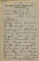 March 28, 1885. -- F.C. Shield, Medicine Hat to J.M. Egan re will enroll protection brigade; send arms.