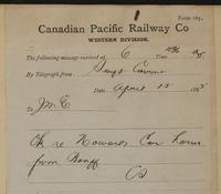 C. Shields, Swift Current to J.M. Egan re okay regarding Howard's car of horses from Banff.
