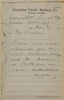 Wrigley, Winnipeg to Governor Dewdney re send information regarding Indian rising at Oak Lake and Battleford.