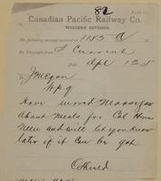 C. Shields, Swift Current to J.M. Egan re wired Moose Jaw about meals.