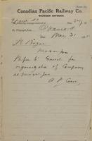 A.P. Caron, Ottawa to R. Bogue, Moosejaw re refer to General for organization of company.