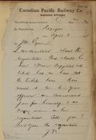 J.N., Nepigon [Nipigon] to J.M. Egan re not enough tickets - give officer requisition.