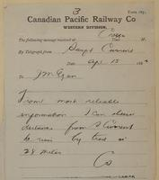 C. Shields, Swift Current to J.M. Egan re 28 miles Swift Current to river by trail.