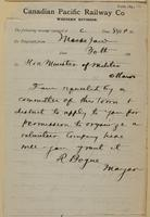 R. Bogue, Moose Jaw to Minister of Militia, Ottawa re permission to organize company.