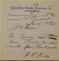 A.E. Fenton, Swift Current to J.M. Egan re think General Laurie is north of Qu'Appelle.