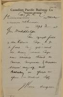 J. Kerr (Surgeon) to General Middleton re can equip field & ambulance corps services with Woolsely.
