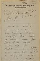 C. Shields, Medicine Hat to J.M. Egan re men say sufficient water to run boats.