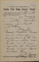 J.W. Laurie, Qu'Appelle to J.M. Egan re tell agents to accept my requisitions for transport.
