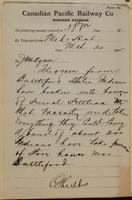 C. Shields, Medicine Hat to J.M. Egan, re Indians at Battleford broken into homes.