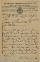 W.C. Van Horne, Montreal to J.M. Egan re build telegraph line if you think it best.