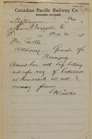 L.W. Coutlee, Fort Qu'Appelle to Mrs. L. Coutlee, Attorney Generals of Winnipeg re arrived all well.