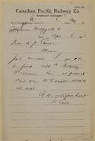 C.E. Montizambert, Qu'Appelle to A.P. Caron, Ottawa re I go to front - send McDonald.