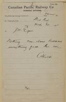 C. Shields, Medicine hat to J.M. Egan re nothing new re Indians.