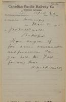 A. McDonald, Winnipeg to Jonathan McDonald, Battleford re arms, ammunition and provisions.