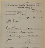 C. Shields, Swift Current to J.M. Egan re Colonel Williams to reach Swift Current, breakfast in Moose Jaw.