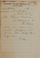 Mary, Battleford to Mrs. Thomas Barbridge, Ottawa re in barracks- well fortified.