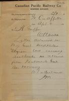 W.S. Sutherland, Qu'Appelle to J.H. Griffin, Ottawa re authority received from Post Master General.
