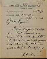 A. Wily, Moose Jaw to J.M. Egan re hotel keepers cannot feed men in cars, but in hotel.