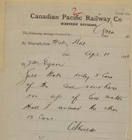 C. Shields, Medicine Hat to J.M. Egan re Galt took only 5 cars of coal.