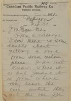 J.N., Nepigon [Nipigon] to J.M. Egan re some doubts about getting a road.