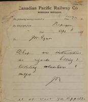 J.N., Nepigon [Nipigon] to J.M. Egan re intstructions re billing volunteers and outfits.