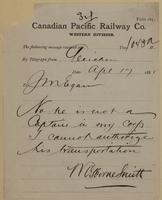 W. Osborne Smith, Gleichen to J.M. Egan re not a captain in my corps.
