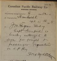 F. Middleton, Humboldt to J.M. Egan re Captain Swinford to sign requisitions.