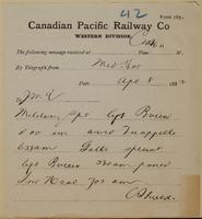 C. Shields, Medicine Hat to J.M. Egan re time military and Galt special arrived.