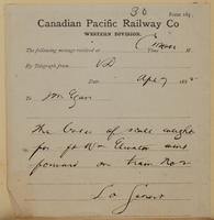 Lo Genert, V.D. to J.M. Egan re boxes of scale weights for Fort William elevator on train.