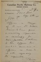 C. Shields, Medicine Hat to J.M. Egan re officer gives artillery requisitions.