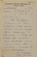 W.H. Griffith, Ottawa to Postmaster, Qu'Appelle re when letter delivered to Middleton.
