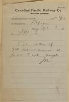 J.N., Nepigon [Nipigon] to J.M. Egan re Colonel Otter anjd 2nd detachment at Jack Fish.