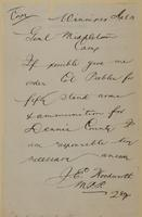 J.E. Woodworth, Winnipeg to General Middleton, Camp re order Colonel Peebles - arms and ammunition for Dennis County.