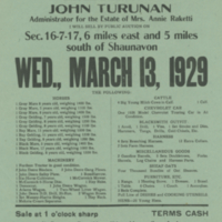 Cash Auction Sale Wed., March 13, 1929 poster