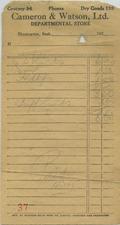 Cameron & Watson, Ltd. Department Store [business receipt]