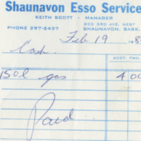 Shaunavon Esso Service [business receipt]